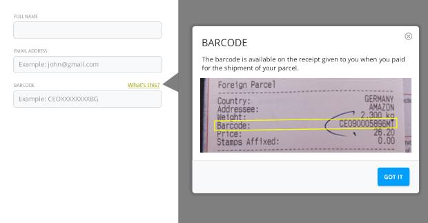 Il n'est pas évident de savoir où les utilisateurs peuvent trouver le code-barres et un texte d'aide concis à côté des champs de saisie pourrait être très utile.