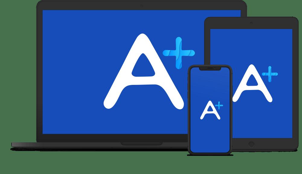 Trois appareils contenant le logo d'Antidote+