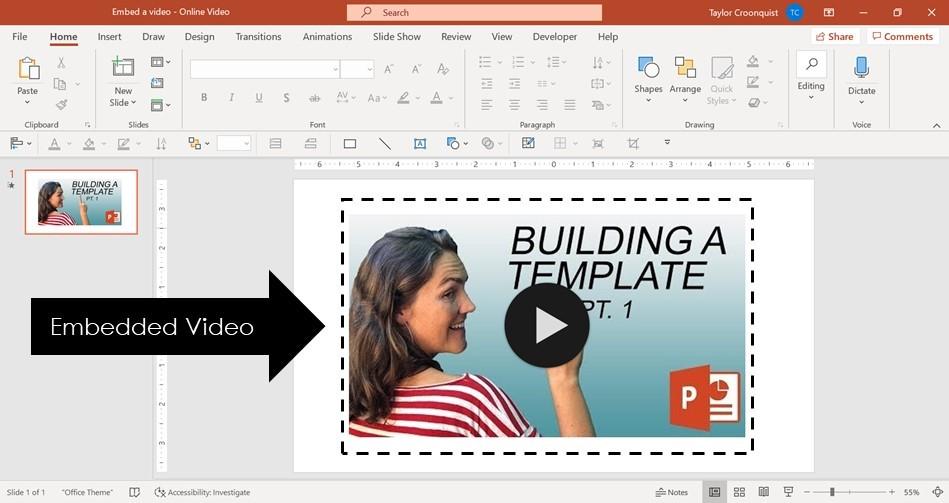 Présence d'une vidéo dans une présentation PowerPoint
