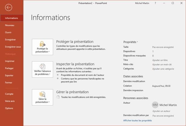 Information sur le PowerPoint